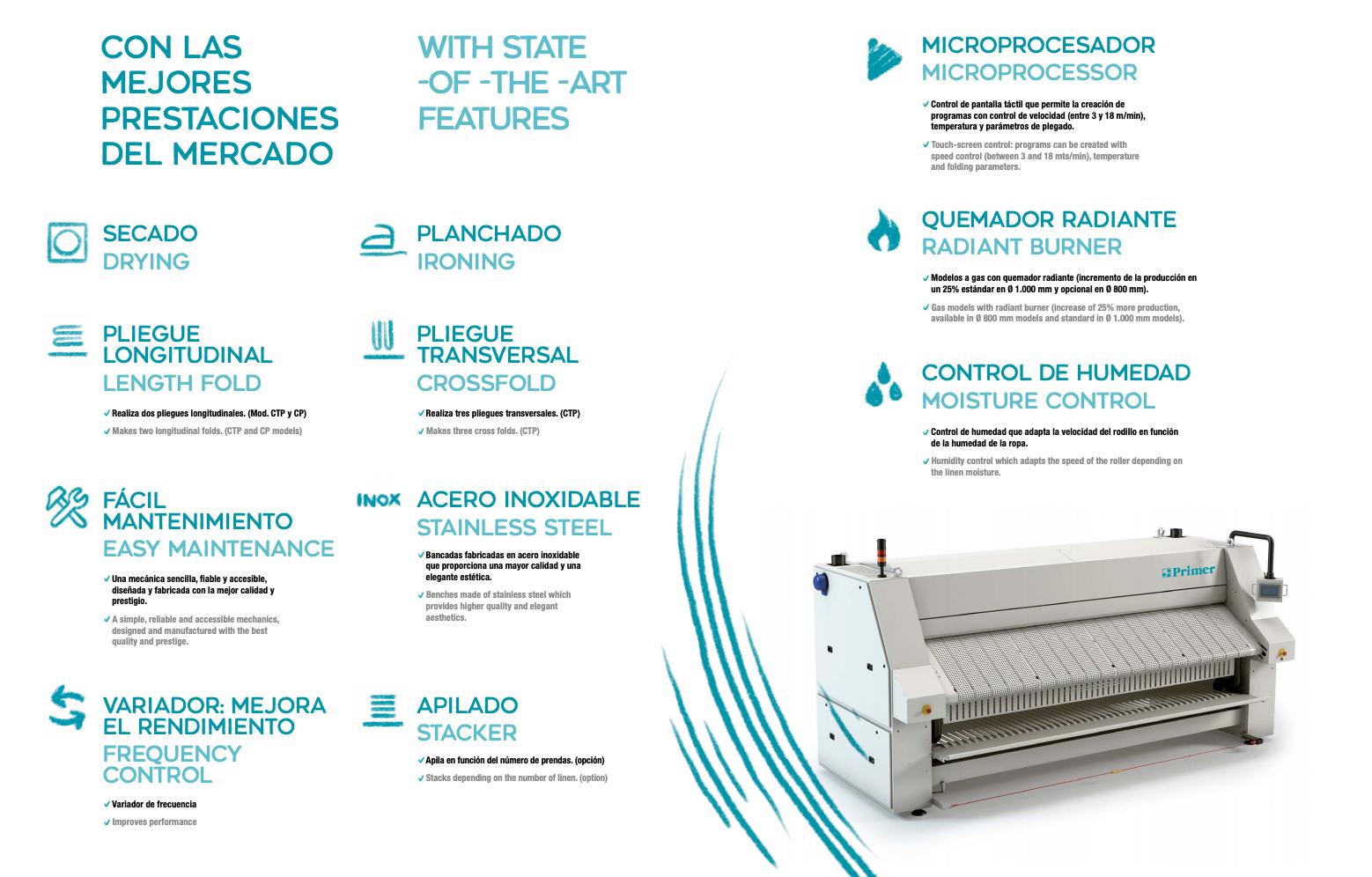 Planchadora o calandra Primer Laundry - CLAT Lavanderías